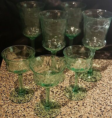 Set of 7 ANTIQUE Green Crystal Wine Water Glasses Etched Design Lot of 7