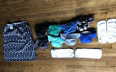 LOT OF 8 BumGenius Freetime All In One AIO Cloth Diapers With Extras