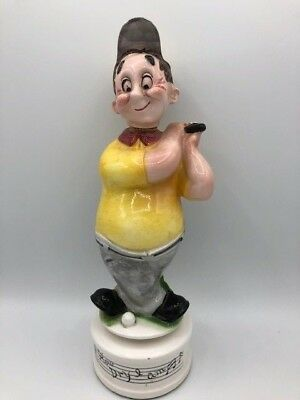 """Golfer Decanter  spins and plays """"How Dry I am"""" - made in Japan - VINTAGE"""