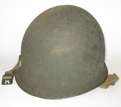Original WWII US Military Schlueter fixed-bale M1 helmet OD3 chinstraps
