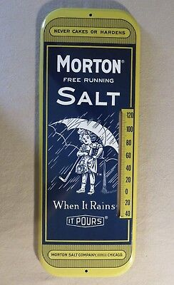 Vintage Morton Salt Thermometer Country Store Advertising Tin Litho Sign Works!