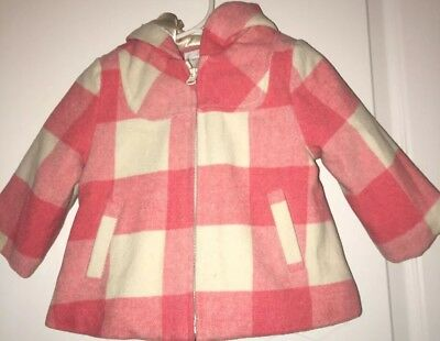d3e092afe Joe Fresh Baby Girl Toddler Wool Lined Pink Check Plaid Coat Jacket Hood  6-12