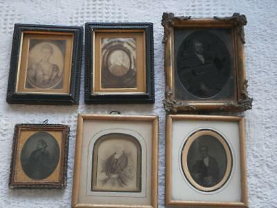 SIX VICTORIAN PORTRAIT Miniature Frames All With Glass & Early Photographs