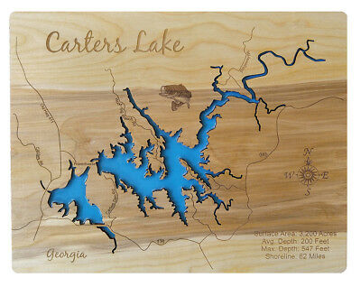 CARTERS LAKE LASER cut wood map