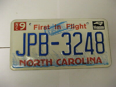 1996 96 North Carolina NC Airplane License Plate JPB-3248 Natural Sticker
