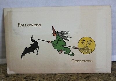 GIBSON HALLOWEEN antique POSTCARD Witch Moon on broomstick Bat