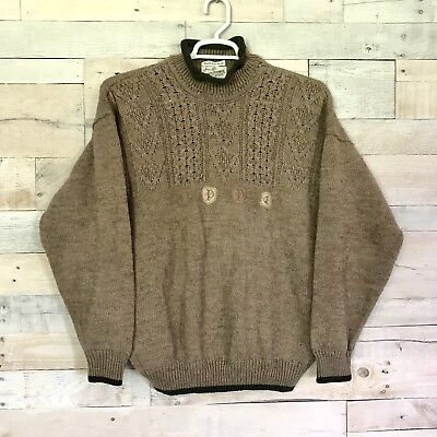 Vintage Sears Robuck Co Beige Green Pullover Sweater Knitted In Italy Mens Large