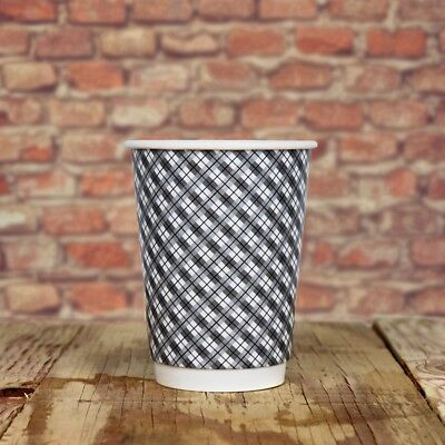 12 oz Paper Coffee Cups - Gray Plaid Double Wall - Disposable Hot Drink Cups