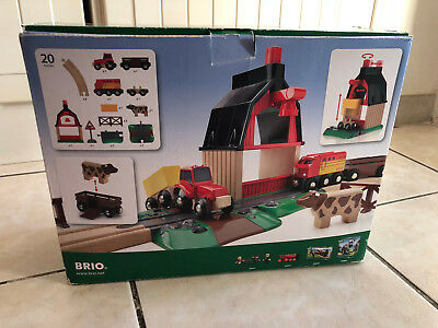 circuit de train brio farm railway set jeu de construction en bois eur 20 00 picclick fr. Black Bedroom Furniture Sets. Home Design Ideas
