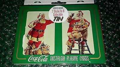 2 Decks of Vintage Coca Cola playing cards in a Collectable tin