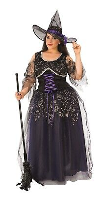 Midnight Witch Adult Womens Plus Size Costume NEW Black Purple Silver