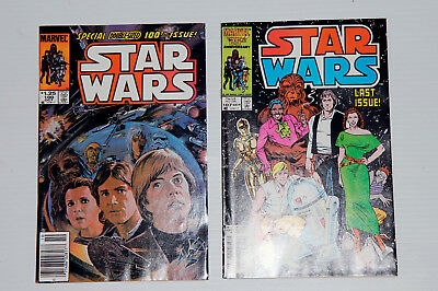 STAR WARS newstand #100 AND scarce FINAL ISSUE #107 LOT MARVEL COMIC