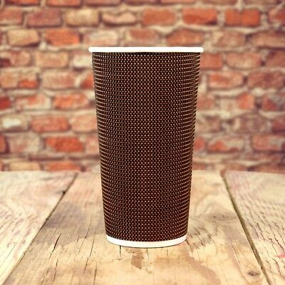 20 oz Paper Coffee Cups - Brown Tweed Double Wall - Disposable Hot Drink Cups