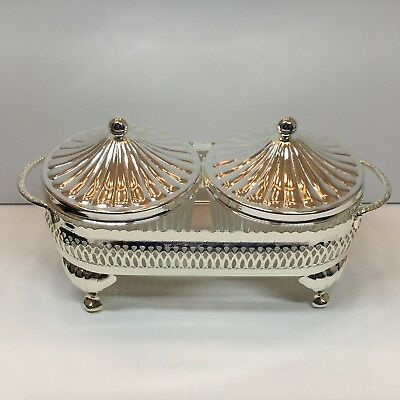 Mayell Queen Anne Silver Plate Set of 2 Glass Lidded Condiment Dishes w/Stand