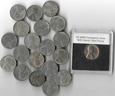 Rare Very Old WWII US Collection Lincoln Steel Penny USA WW2 20 War Coin Big Lot