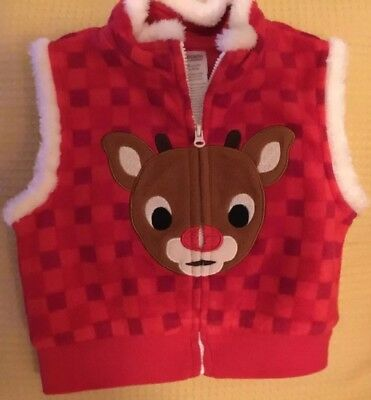 EUC 24 Month Rudolph The Red Nose Reindeer Holiday Vest Unisex, BIN