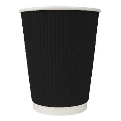 12 oz Paper Coffee Cups - Ripple Black Double Wall - Disposable Hot Drink Cups