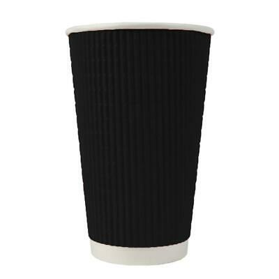 16 oz Paper Coffee Cups - Ripple Black Double Wall - Disposable Hot Drink Cups