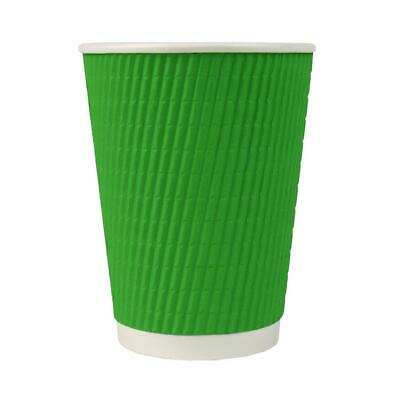 12 oz Paper Coffee Cups - Green Ripple Double Wall - Disposable Hot Drink Cups