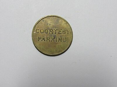 """Old Parking Token - """"Courtesy Parking """" both sides - smaller - Circulated"""