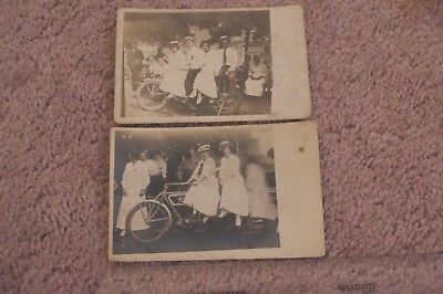 Lot 2 Real Photo Postcards RPPC Excelsior Auto Cycle Men Women on Motorcycle