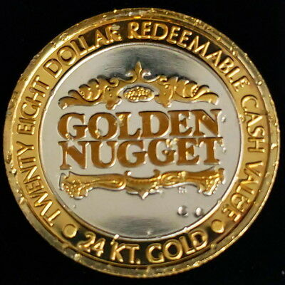 1993 LM Golden Nugget $28 Laughlin 24Kt Plate .999 Silver Gaming Token ;SS9305