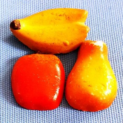 "Vintage Lot of 3 Ceramic Fruit 1"" Fridge Magnets"