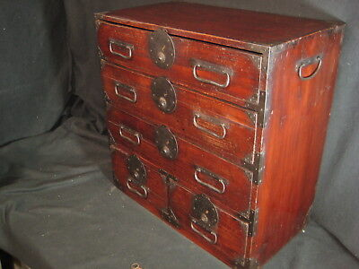 Antique Japanese 155 Year Old Edo Era 5 Drawer Personal Kodansu Tansu Chest