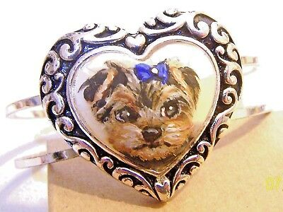 hand painted Yorkie on  carved shell  silver plated bracelet dog art gift detail