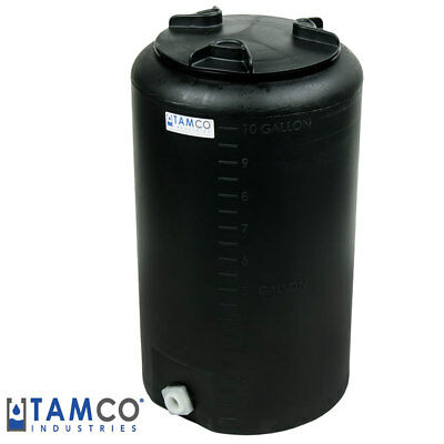 """10 Gallon Tamco (R) Vertical Black PE Tank with 8"""" Lid & 3/4"""" Fitting - 13"""" Dia."""