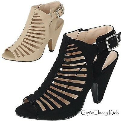 87b7a601121 Fashion Strappy Caged Kitten Chunky Heel Women s Sandals Shoes Teen New ...