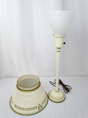 """Vtg Chic Shabby Tole Torchiere Table Lamp Off White Hand Painted Gold Leaves 23"""""""