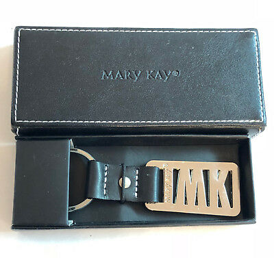 Mary Kay Cosmetics Silver colored metal MK Keychain in Black Faux Leather box