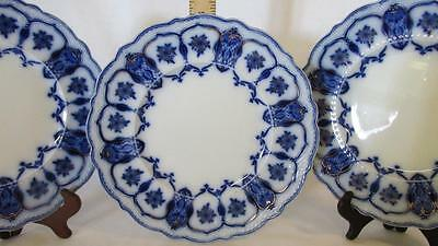 """3 Johnson Brothers Eclipse Flow Blue 10"""" Dinner Plates, Early 1900's, Gold Trim"""