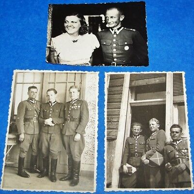 3 ORIGINAL 1930's PHOTOS LOT: POLISH ARMY OFFICERS & SOLDERS W/ MEDALS