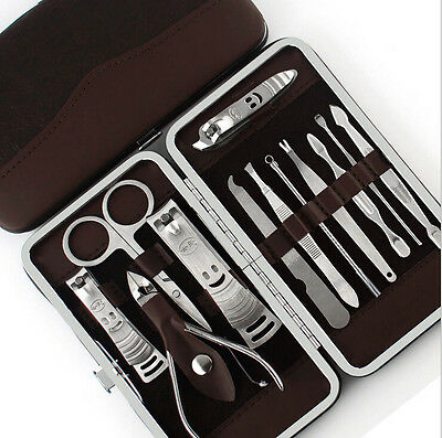 Nail Clippers 12PCS Pedicure Manicure Set Cleaner Cuticle Grooming Kit Case