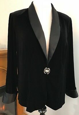 ALEX Evening Women's Black Velvet Jacket Silky Collar W/Rhinestone Broach ~ 2X