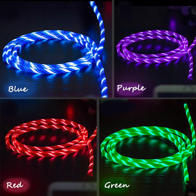 New RGB Flowing LED Glow Light USB C Type-C Data Sync Charge Charging Cable Cord