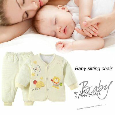 Comfortable Warm Cotton Padded Inside Clothes And Pants Suit For Newborn Baby W1