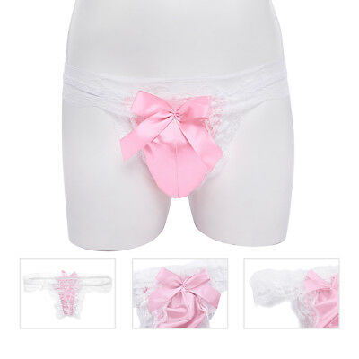 df624f4434b Sexy Men Lace Satin G-string Sissy Pouch Panties Thong Gay Underwear  Lingerie
