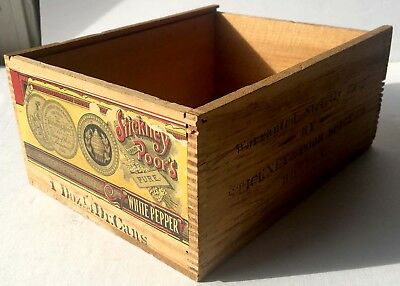 19th C. Stickney & Poor Spice Company Wooden Box with Paper Label