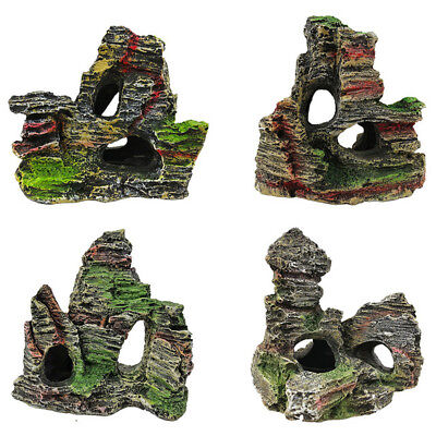 Mountain View Aquarium Ornament Cave Rock Tree Bridge Fish Tank Rockery Decor