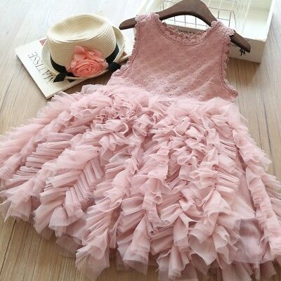 US Flower Toddler Kid Baby Girl Tutu Tulle Party Pageant Princess Dress Sundress