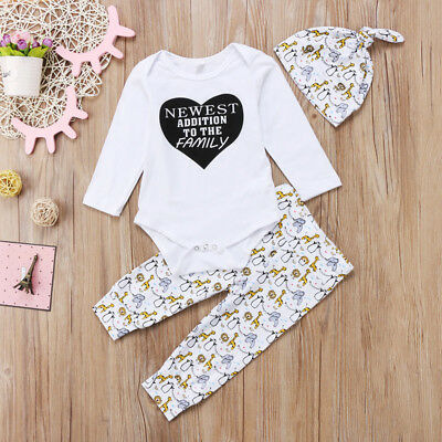 Baby Boys Girls Romper Tops + Cartoon Animal Pants Hat 3PCS Outfits Clothes Set
