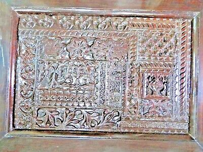 ARCHITECTURE Carved WOOD SALVAGE Reclaimed WALL DECOR frame PANEL C1900 INDIA