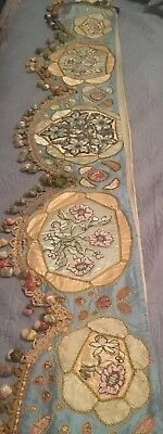Vtg  Museum Quality Victorian Silk French Tapestry Wall Hanging Textile Valance