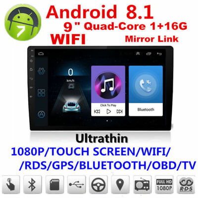 """9""""HD 1080P Android 8.1 2Din Car Stereo Radio GPS Wifi BT DAB Mirror Link OBD"""