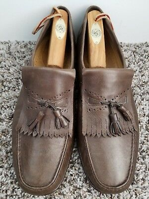 9439da3677b6 SANTONI Brown Leather Tassel Loafers Shoes 501425 Men s Size 11.5 Made in  Italy