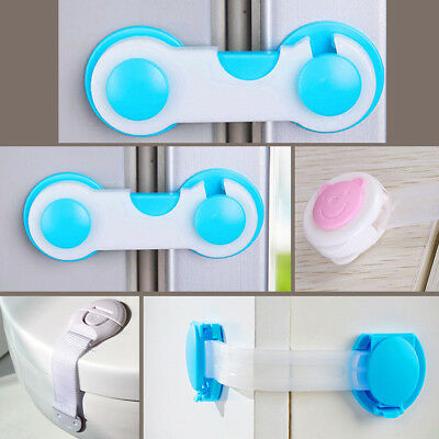 Baby Child Kids Adhesive Door Cupboard Cabinet Fridge Drawer Safety Locks 10pcs