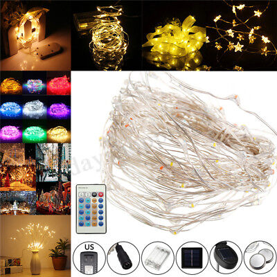 10M 100LED String Silver Wire Fairy Light Solar Battery USB 12V Xmas Fairy Decor